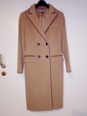 Anne Klein Abrigo de lana marrón claro tejido mezclado