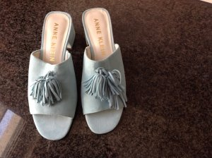 Anne Klein Heel Pantolettes baby blue leather