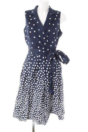 Anne Klein Petticoatkleid weiß-dunkelblau Punktemuster Rockabilly-Look