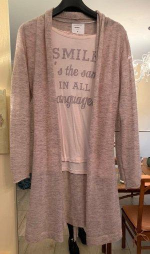 Anne L. beiger leichter Alpakawoll-Cardigan mit T-Shirt, Gr. M