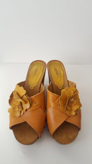 Anne L. Plateauzool sandalen donker oranje Leer