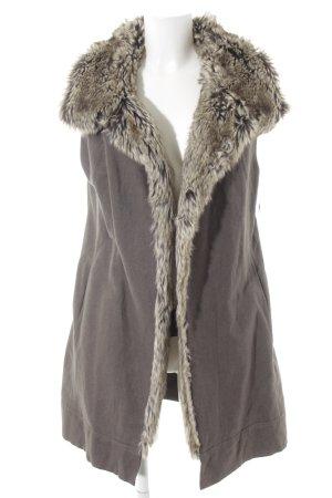 Annette Görtz Fur vest dark grey-natural white Boho look