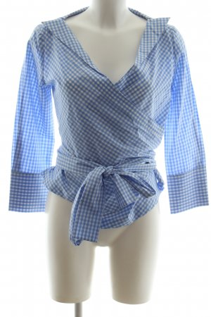 Anni Carlsson Wraparound Blouse white-blue check pattern casual look