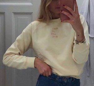 Anni Lu gelber Sweater Pastelfarben Pullover aus Baumwolle in softem Gelb Größe M