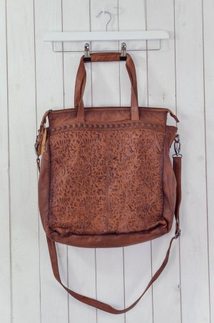 ANOKHI Damen Tasche Umhängetasche Vintage Leder Geprägt Groß Innentasche