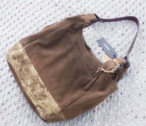 Anokhi Pouch Bag grey brown-gold-colored suede
