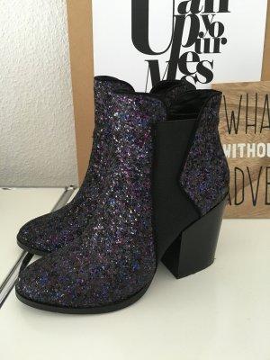 Another A Görtz stylische Glitzer Boots Stiefeletten schwarz 39