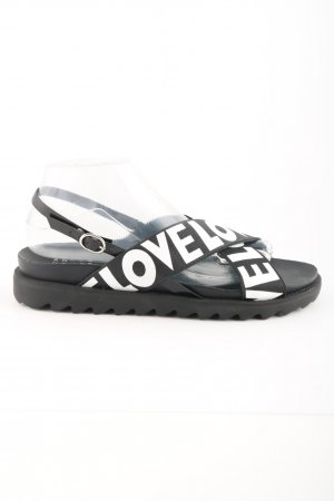 Another A Strapped Sandals black-white printed lettering elegant