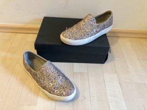 Another A Slipper 39 Slip Ons Gold Multi Glitzer Glitter Top
