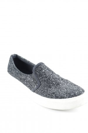 Another A Slippers black-natural white glittery