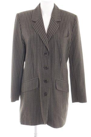 another woman Blazer long brun-crème motif rayé style d'affaires