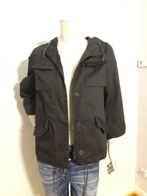 Anthrazit dunkelgraue Jacke mit Kunstfell von The Kooples in L