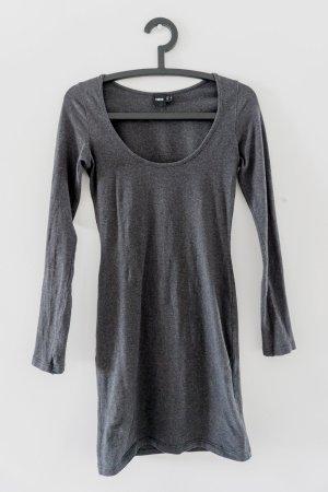 Anthrazit Kleid Langarm U-Ausschnitt aus Baumwolle / Gr.S / Asos
