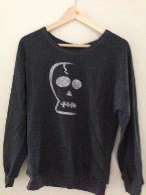 Anthrazites Sweatshirt mit Totenkopf