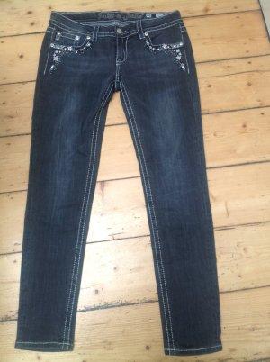 Anthrazitfarbene Jeans mit Strass
