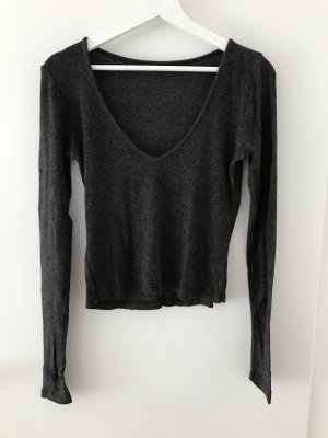 Anthrazitfarbener Crop Pullover in XS/S
