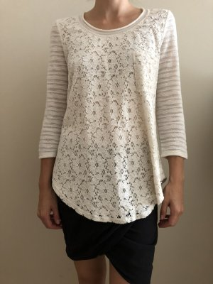 Anthropologie Spitzen/Strickoberteil, Creme