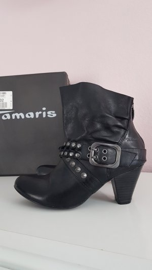 Tamaris Slouch Booties black-silver-colored