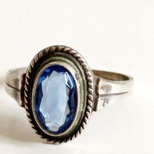 Antik 1930 Jugendstil Art Deco Topas Damen Ring 835er Silber Blautopas