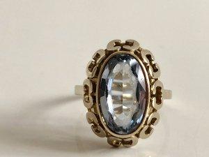 Antik 333 Gold Ring Art Deco Goldring Edelstein aqua blau Meisterpunze Juwelierstück
