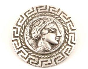 Antik 800 Silber Relief Portrait Nymphe Mäanderband Pin Anstecknadel Silber Brosche
