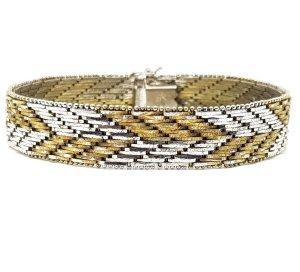 Antik 835 Echtsilber Luxus Armband Bicolor silber gold Juwelierarbeit schwer Silberarmband