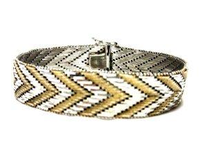 Antik 835 Echtsilber Luxus Armband Bicolor silber gold Juwelierarbeit schwer Silberarmband  ZigZag Muster