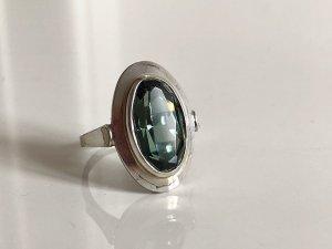 Antik 835 Silber Art Deco Ring Silberring Meisterpunze Edelstein grün