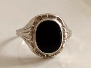 Antik 835 Silber Ring Onyx schwarz Edelstein Cabochon Juwelierstück