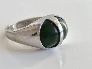 Antik 835 Silber Ring Silberring jade Edelstein grün