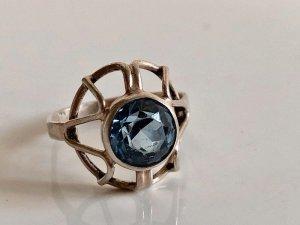 Antik 835 Silber Ring Silberring Kronen Ring  aqua blau Steinbesatz