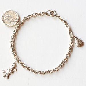 Antik 835er silber Glücksbringer Armband Bettelarmband Lucky Charm Amulett Armkette