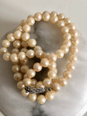 Antik 835er Silber Markasiten Edelsteine Perlenkette Collier Luxus Vintage Echtsilber 835 Silber Perlen Kette Perlencollier