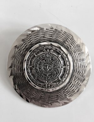 Antik 925 Sterling Silber Relief Mayakalender Mexico Medaillon Anhänger Azteken handgemacht Mexiko Brosche