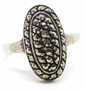 Antik 935 Feinsilber Art Deco Ring Markasiten Edelsteine facettiert Silberring 935 Silber Handarbeit Jugendstil