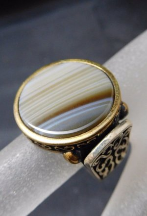 Antik achat Edelstein Streifenachat Ring 925 Sterling Silber vg. Gold Silberring Statement