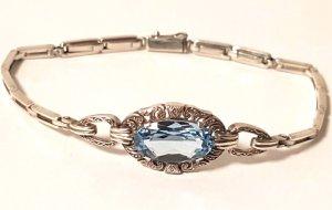 Antik Art Deco 835 Silber Armband facettiert aqua blau Stein