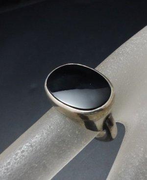 Antik Art Deco Damen Vintage Silber Ring Schwarzer Stein edel Onyx unisex