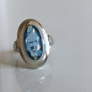 Antik Art Deco Jugendstil 835 Silber Meisterpunze Ring Aqua blauer Stein Silberring 835er
