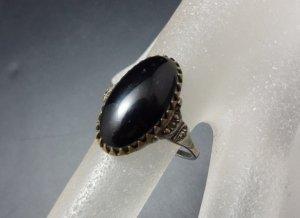 Antik Art Deco Jugendstil 935 Silber vg Gold Ring Markasiten schwarz Onyx Vintage
