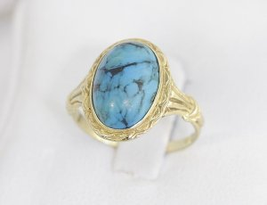 Antik Art Deco Jugendstil Ring aus 333er Gold mit Türkis Goldring 333 Gelbgold