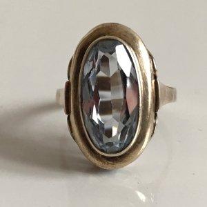 Antik Art Deco Luxus Ring 333 Weißgold funkelnder Aqua hellblauer Stein echt gold 333er