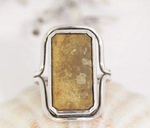 Antik Art Deco Ring  830er Silber Jaspis Stein 830 echtsilber echt Vintage Landschaftsjaspis