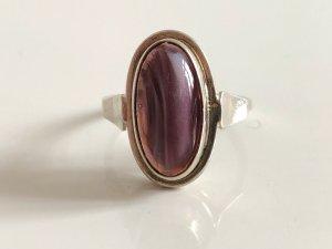 Antik Art Deco Ring 835 Silber Silberring achat violett lila Streifenachat Cabochon oval