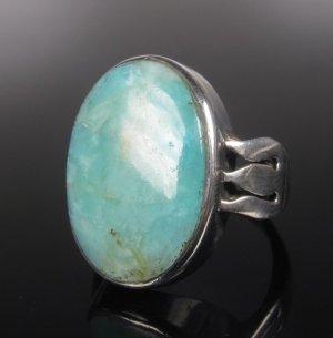 Antik Art Deco XL türkis Larimar Ring Echt Sterling Silber 925 Ring Handarbeit