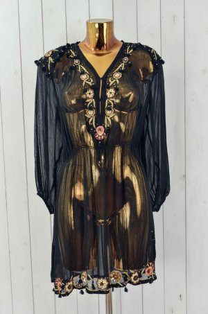 ANTIK BATIK Damen Kleid Tunika Chiffon V-Ausschnitt Schwarz Pailletten ca.36-38