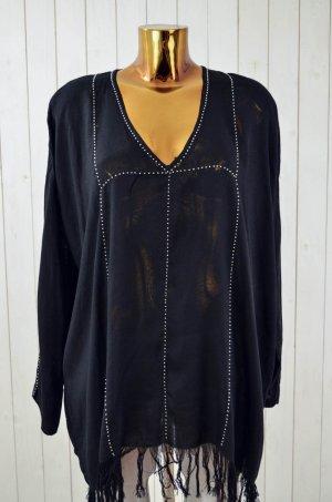 ANTIK BATIK Damen Oberteil Bluse Tunika Mod. Enola Schwarz Perlen Fransen Gr.38