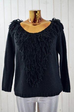ANTIK BATIK Damen Pullover Fransen Grobstrick Schwarz U-Ausschnitt Gr.38/S Neu!