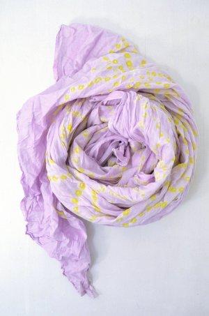 ANTIK BATIK Damen Schal Flieder Gelb Batik Blumen Baumwolle Plissée