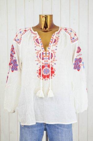 ANTIK BATIK Damen Tunika Bluse Oberteil Hippie Ecru Gecreppt Bestickt Bunt S/38